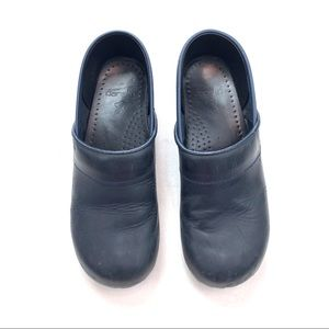 Dansko Clogs Navy Blue Oiled Leather